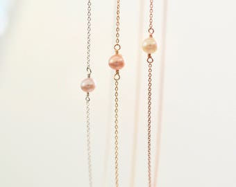 Tiny Pearl Necklace, Single Pearl Necklace, Dainty Pearl Necklace on 14k Gold Fill, Rose Gold Fill, Sterling Silver Chain