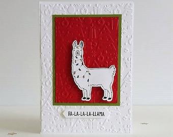 LLAMA CHRISTMAS Card, Holiday Card, handmade hand stamped, seasons greeting, Christmas llama. fa-la-la-la-llama, Christmas lights EiderCraft