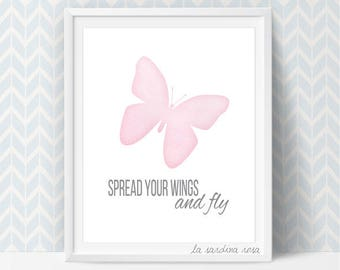 Girl room decor, Watercolor pink butterfly, Baby girl nursery wall art, Butterfly art print, Printable quotes, Spread your wings #0014P