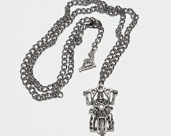 Biker Pendant with Revolver on Silver Hypo Allergenic Nickel Free Chain/Biker Necklace/Mens Jewelry/Motorcycle Necklace/