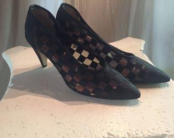 1970's Walter Steiger Design Black Woven Checkerboard Pumps Suede heels- Size 7