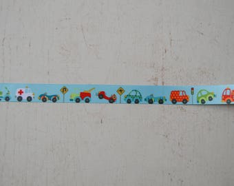 Ribbon vehicles 22 mm wide sold by the meter Theme boy n2