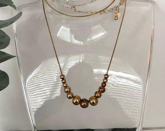 Avon Necklace - Vintage Avon Necklace - Bronze Necklace - Delicate Necklace - Dainty Necklace - Beads that Move - Simple Necklace - Gift