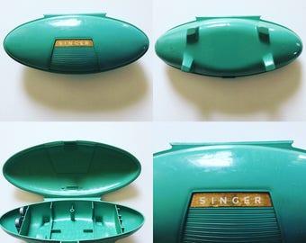Midcentury Singer Sewing Kit Sage Green Atomic Retro Shape
