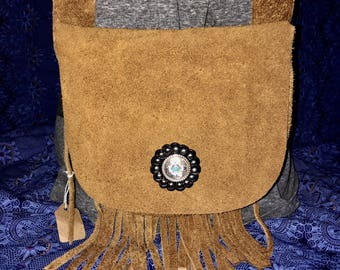 Handmade small leather satchel with fringe!