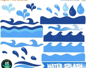 75% OFF SALE Water Wave Clipart, Water Clipart, Ocean Waves Clipart, Commercial Use - UZ0202