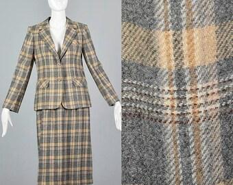 SALE Small 70s Separates Two Piece Skirt Suit Vintage 1970s 70s Wool Blend Plaid Blazer Skirt Set Winter Secretary