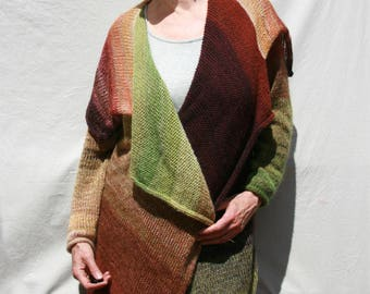 Long Wrap Sweater Spring Meadow Annie Statement knit Cardigan natures palette green brown gold mohair cotton silk hand blended ombre Meadow