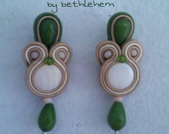 Earrings Soutache Olivgreen