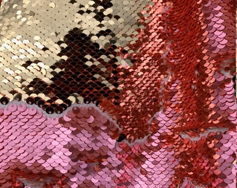 Mermaid Shiny Coral/Gold 5mm NewTwo Tone Flip up sequins/Reversible Sequins Fabric by the yard