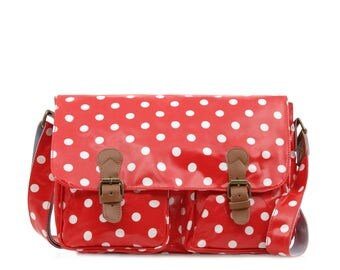 College Crossbody laptop bag- Oilcloth Zip computer bag - Polka dot - School Messenger bag - Oil cloth ladies purse - Laminated waterproof
