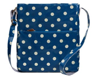 Crossbody College laptop Bag - Polka dot- Oilcloth computer school bag - Work messenger bag - Ladies purse- University bag- Laminated cotton