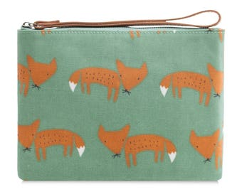 Oilcloth Clutch purse- Zip Pouch bag - Fox print - Oil cloth strap zip wallet - Ladies Teenage girl cosmetic beauty case - ladies makeup bag