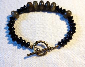 Unisex bracelet Labradorite and Murano glass beads