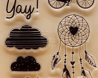 Dream Catcher Bike Bicycle Rubber silicone stamp clear new card making scrap booking stamps