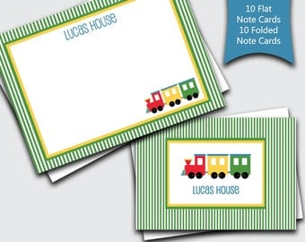Personalized Train Thank You Cards / Notecard Set for Kids / Note Cards for Boys / Custom Thank You Notes / Blank Stationery  (1702-034FF)