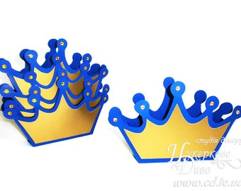 Set 3 Big Favor box Prince crown navy gold-Paper box-Treat Box-Party Favor Boxes-Candy Box-Favor Containers-Treat Containers-birthday decor