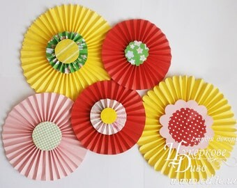 Set yellow, red, pink paper fans party decor - paper fans backdrop - paper rosette birthday girl room decor - pinwheel backdrop wedding