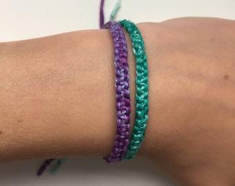 Multicolor Adjustable Square Knot Bracelet