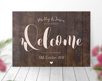 Welcome to Our Wedding sign, Personalised Welcome Sign, Wedding Sign, Rustic Sign, Woodland Sign, Barn Sign, Wood Effect Sign, Board, Plaque
