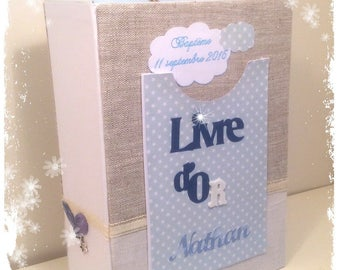 """A5 guestbook! in linen christening or birth multipochettes """"dream of baptism"""""""