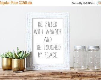 SALE Filled With Wonder Touched By Peace Printable Poster Print Christian Art Relaxing Quote Teen Art Dorm Art Room Have Wonder Peaceful Quo