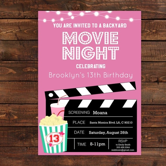 Pink girls movie night party invitation pink movie printable il570xn filmwisefo