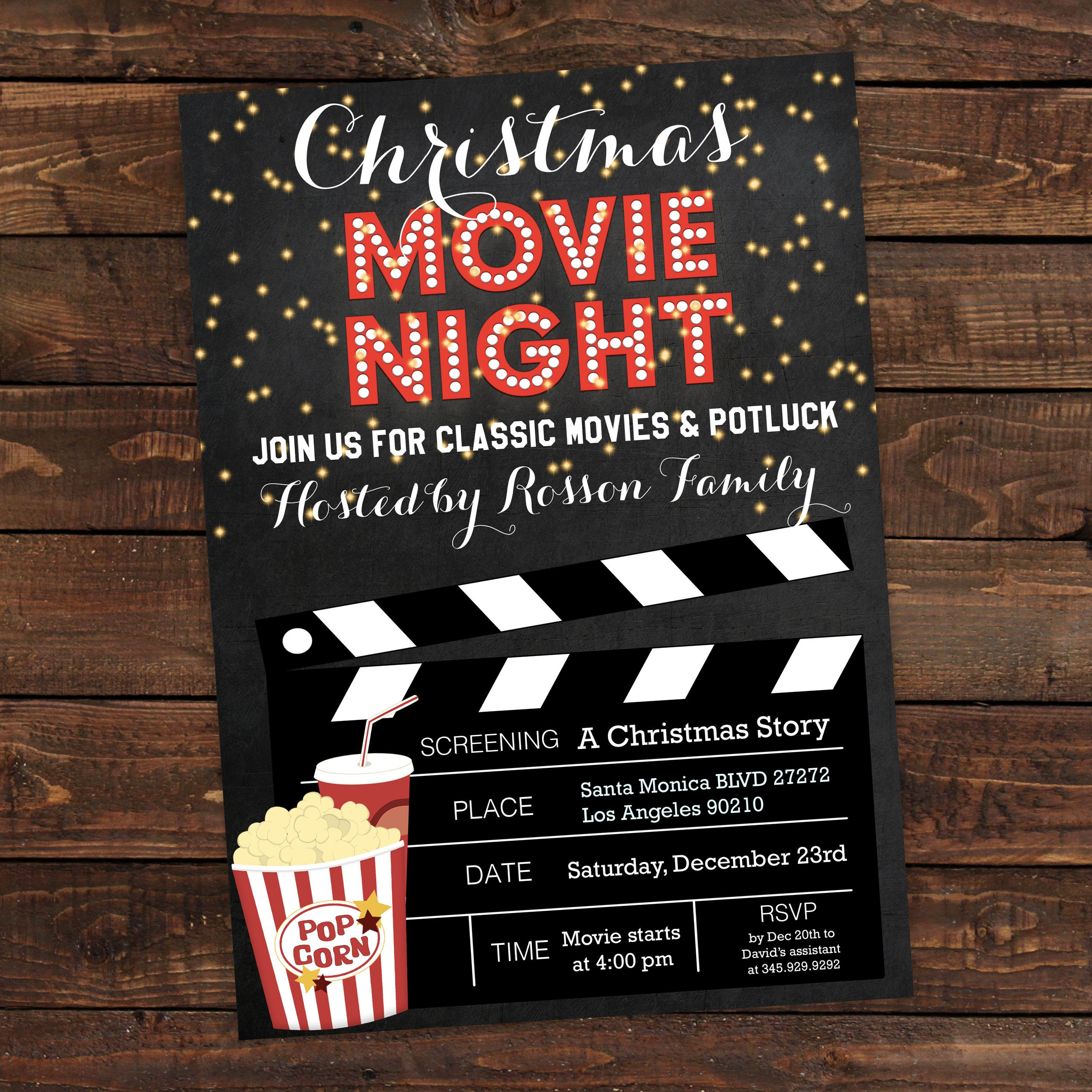 Christmas movie party invitation Christmas movie night