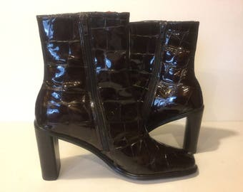 Boots, Womens Boots,Patent Leather Brown Boots,Size 9.5 M Ladies Boot,Vintage Shoes, Disco Boots,