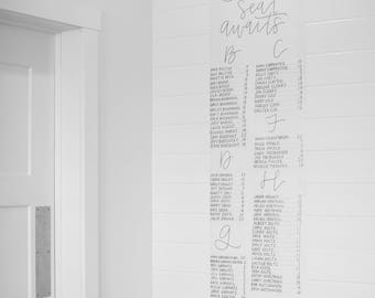 Oversized Scroll Seating Chart - Handlettered Seating Chart - Wedding Seating Chart - Calligraphy Seating Chart - Seating Chart Display