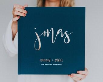 Calligraphy Foil Wedding Guest Book - Custom Guest Book, Personalized Guest Book, Wedding Gift Keepsake, Elegant Guest Book, Rose Gold Foil