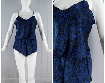 Vintage Womens 1980s / 1990s Royal Blue and Black Paisley Satin Two Piece Matching Pajama Shorts & Top Set | Size XS/S