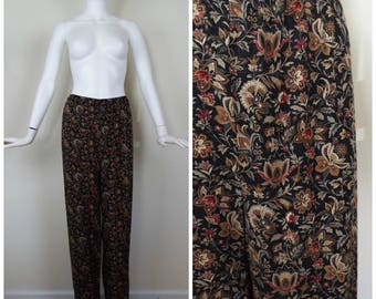 Vintage Womens 1990s Black Brown Cream and Red Floral Print Rayon Pants | Size S