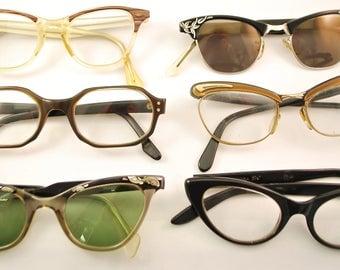 SET of 6 Vintage CAT EYE Eyeglasses (lot 151)