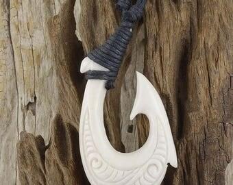 ON SALE Maori Scrimshaw Fish Hook Necklace, Hei Matau, Hand Carved, Lashed, Bone, Surfer Free Shipping