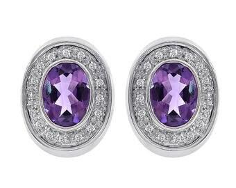 2.25 Carat Amethyst & 0.20 Carat Diamond Huggie Earrings 14K White Gold