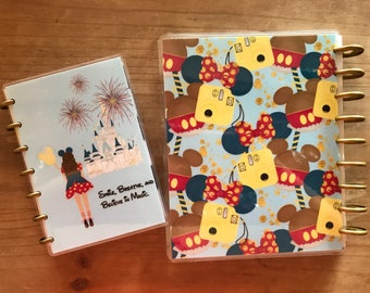 Disney inspired Happy Planner covers. Disney world background with your coice of hair color on girl. Planner covers, inserts, decorations.