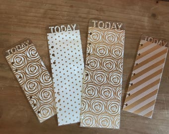 Today or month page marker. Available for pocket, personal, A5, mini and classic happy planner. Gold foil and laminated.