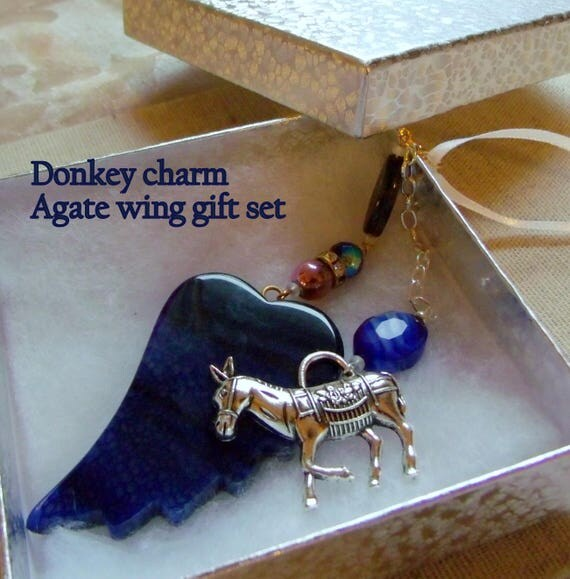 Donkey charm gift set - deep blue agate wing - kitchen ornament - window decor - pet donkey memento - free letter - gift box set - farm