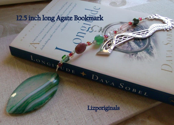 Green agate heart bookmark - gemstone page marker - reading gift - book lover - librarian - teacher - teen readers - dragon beaded bookmark