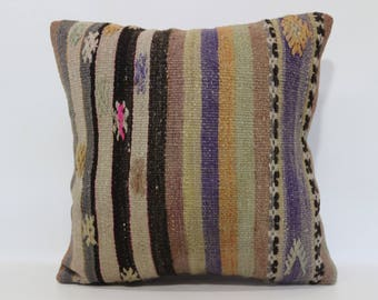 20x20 Decorative Kilim Pillow Striped Kilim Pillow 20x20 Handwoven Kilim Pillow Boho Pillow Home Decor Cushion Cover  SP5050-1773