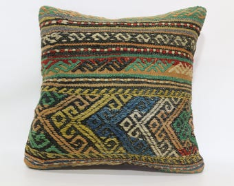 Anatolian Kilim Pillow Sofa Pillow Throw Pillow Bed Pillow 20x20 Floor Pillow Decorative Kilim Pillow Patterned Kilim Pillow SP5050-1977