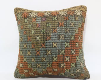 20x20 Anatolian Kilim Pillow Decorative Kilim Pillow 20x20 Handwoven Kilim Pillow Turkish Kilim Pillow Boho Pillow Cushion Cover SP5050-2119