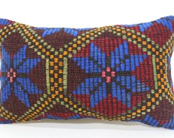 12x20 Embroidered Kilim Pillow Sofa Pillow Ethnic Pillow 12x20 Turkish Kilim Pillow Home Decor Bohemian Kilim Pillow SP3050-1448