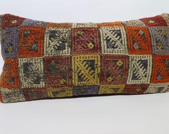 12x24 Embroidered Kilim Pillow Throw Pillow 12x24 Throw Pillow Ethnic Pillow Decorative Kilim Pillow Cushion Cover Sofa Pillow SP3060-1478