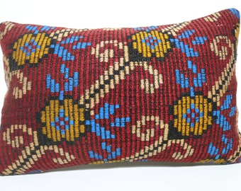 16x24 Vintage Turkish Kilim Pillow Lumbar Decorative Pillow Lumbar Kilim Pillow Home Decor Throw Pillow Ethnic Pillow Cover SP4060-975