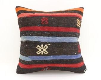 20x20 Striped Kilim Pillow Sofa Pillow Ethnic Pillow 20x20 Handwoven Kilim Pillow Embroidered Kilim Pillow Cushion Cover  SP5050-2642