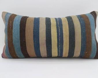 12x24 Multicolor Kilim Pillow Throw Pillow 12x24 Lumbar Pillow Blue Striped Kilim Pillow Bohemian Pillow Cushion Cover  SP3060-1716