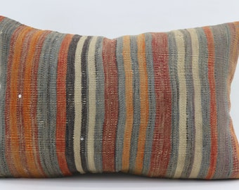 16x24 Kilim Pillows Striped Kilim Pillow Multicolor Pillow Turkish Decorative Kilim Pillow 16x24 Pillow Boho Pillow Throw Pillow SP4060-1365
