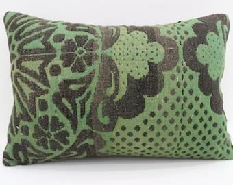 16x24 Kelim Kissen Pillow Cover Floral Pillow  16x24 Kilim Pillow Decorative Kilim Pillow Green and Black Pillow Boho Pillow SP4060-1424